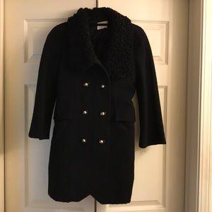 3.1 Phillip Lim black wool, fur collar coat